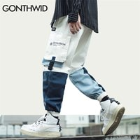 Gonthwid Side Buckle Bolsos Cargo Harem Jogadores Calças Streetwear Mens Harajuku Hip Hop Hipster Casuais Calças Calças Calças 201288