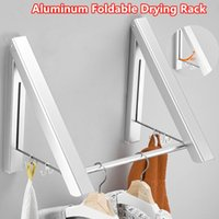 Cremalheira dobrável da roupa do gancho do gancho da roupa dobrável para a roupa do vargão da varanda Rods ajustáveis