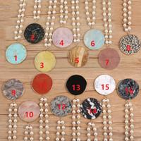 Pearl Naturstein Halskette Personalisierte Scheibe Stein Anhänger Lange Perlenpullover Kette Modeschmuck Zubehör