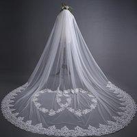 3M * 3m Avorio lunghi veli da sposa in tulle morbido con applique velo da sposa con pettine di alta qualità spedizione gratuita accessori da sposa