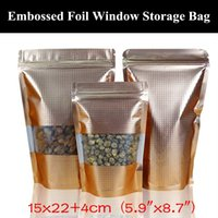 "50pcs 15x22 + 4 cm (5,9 ""x8.7"") 160micron en relieve oro mate del papel de aluminio Ventana Ziplock bolsa de Mylar metalizado resellable bolsa de almacenamiento"
