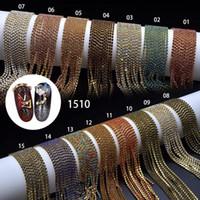 100 cm cadena de uñas arte de metal cadena de oro plata talata micro clavo diactone línea puntas de vidrio DIY decoración brillo rayas