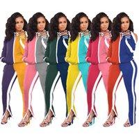 Mujeres Color de la caída del remiendo de 2 pedazos del chándal de Split hombro de la cremallera de la chaqueta de manga larga Top Pantalones de chándal traje