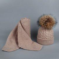 Kinder und Erwachsene Winter-Schal-Set für Mädchen Jungen Kinder gestrickte Frau wirklichen Fox-Pelz-Pom Pom-Ohren-Baby-Schal Y201007