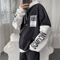 New-Fashion Mens Spring Autumn 2020 Long Sleeves Hoodies Korean Version Trendy Slouch Pullover Streetwear Tracksuit for Males