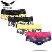 4 adet / grup Skyhero Külot Dantel Kadınlar Pamuk Kısa Iç Çamaşırı Nefes Bayanlar Külot Kadın Kadın Culotte Kahraman Crotchless Y200425