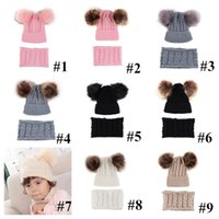아기 모자 2 개는 0-2 세 어린이 유아 소녀 소년 겨울 모자에 대한 폼은 폼은 비니를 설정 scaft 트위스트 니트 해골 스카프 세트 캡 E102001는 캡