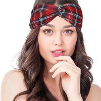 Stampato Plaid Croce fascia donne di sport antitraspirante Yoga accessori per capelli fascia del progettista Il nuovo trasporto libero fascia