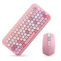 Tastiera Mouse Combos Jelly Comb 2.4G Set wireless Set di colori rosa per il computer portatile Mini set di casa1