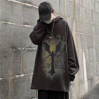 Lady Fox Coreano Versión INS Street Dark Devil PRINT BF Flowed con capucha Sweater Abrigo para hombres y mujeres