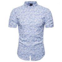 Swagwhat Новое Прибытие Повседневная Бизнес Мужские Платье Рубашки с коротким рукавом Печатная Рубашка Мужчины Социальные Рубашки Chemise Homme1