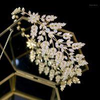 Asnora Neue Mode Braut Tiara Kopfschmuck Haarschmuck Hochzeit Kopfschmuck Goldene Blätter Blätter Haarband Zirkonia Crown1