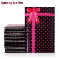 10pcs 4x8 '' 120x180mm Piccoli pois neri Polis Poly GRAZIE GRAZIE BUBBLE MAILER, AUTO SIUMING PADTED MAILING BUSINES BOWKNOT DESIGN1