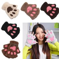 Пять пальцев перчатки Valink 2021 мода зимние женщины девушки милые плюшевые теплые варежки милые короткие половины пальца самки без пальцев