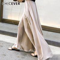 Женские брюки Cakris Chicever осенью высокая эластичная талия брюки для женщин широкие ноги шифон свободно негабаритные брюки модный прилив