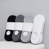 5Pair / lot Mode heureux chaussettes pour hommes en bateau, Été, Automne antidérapante en silicone invisible chaussettes de coton Homme cheville Sock Meia