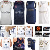 Real Madrid Basketball 23 Sergio Llull Jerseys 22 Walter Tavares 7 Facundo Campazzo 33 Trey Thompkins 20 Jaycee Carroll Rodriguez Baloncesto