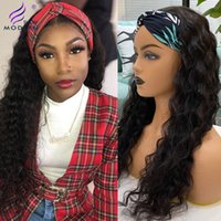 Modern Show Hair Peruvian Water Wave Human Hair Wig Headband Full Machine Paryk för Black Women Remy Hair 150% Täthet