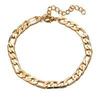 Anklets 18K Gold Figaro цепь браслета европейской американской моды Anklet для женщин и мужчин заводская цена ювелирные изделия