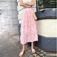 Vintage Skirts Woman Maxi Chiffon Skirt 2020 Spring Summer Elegant Midi Skirt High Waist Tassel A Line Long Tutu Luxury1