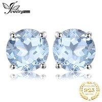 Jewing JewingPalace 2CT Genuine Blue Topaz orecchini 925 argento sterling per le donne orecchini coreani gioielli moda 2021