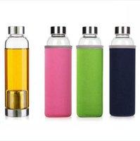 Botella de cristal 550ml de agua bolsa protectora de cristal del té de limón de botella resistente a altas temperaturas de la botella de agua del deporte al aire DDA679