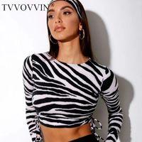 TVVOVVIN Automne Hiver Femmes Mode froncé Taille d'impression de zèbre T-shirt sexy froncé Tops Top 86KF
