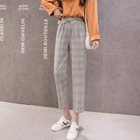 Summer Elastic High Waisted Chiffon Harun Pants Womens Loose Thin Casual Loose Pants Women Korean Pants Plaid Trausers Women A1113