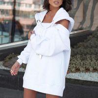 Camisolas femininas vestidos de manga longa enorme solta vestido casual off-the-ombro sol sólido feminino vestidos midi