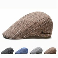 Bérets Meihuida Hommes de style britannique Casual Coton ajustable Plaid Gatsby Golf Beret Vintage Plat Cap Special Props for Studio