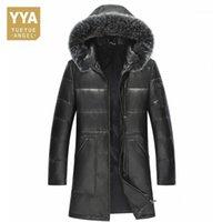 Cuir pour hommes Faux 100% véritable veste à capuche à capuchon chaud long homme manteau de qualité supérieure luxe de mouton de luxe grande taille L-5xL1