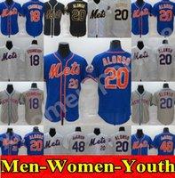 2020 hommes femmes enfants 20 Pete Alonso Mets Jersey Blanc Black Golden Edition 18 Darryl Strawberry 48 Jacob Degrom Toutes les maillots de baseball cousus