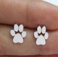 도금 된 개 발 인쇄 귀걸이 개 고양이 연인 보석 PS0709