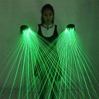 2 in 1 Guanti laser verdi multilinea Guanti laser a LED Guanti laser Luminosi occhiali luminosi, per abito da robot a LED Abito luminoso Bar Party Music Festav 201031