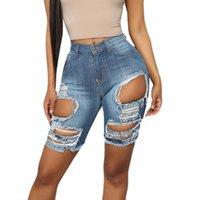 Mujeres Jeans Elástico Destruido Agujero Leggings Pantalones cortos Pantalones cortos de mezclilla Romada Vintage Baja Baja Outwear Outwear