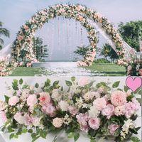 100cm 웨딩 DIY 꽃 행 실크 로즈 모란 꽃 벽 배경 배열 아치 가짜 꽃 장식