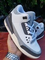 2021 عالية الجودة حذاء حجية Jumpman 3 X كوس كول أحذية رمادي أبيض الرجال لكرة السلة في الهواء الطلق حذاء رياضة حجم 40-47