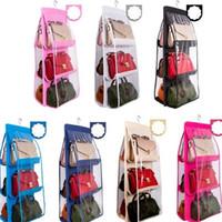 7 ألوان المنزل 6 جيوب حقيبة يد محفظة حقيبة التخزين شنقا كتب منظم خزانة خزانة شماعات مزدوجة الجانب طوي شفافة PPA3366