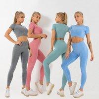 Yoga Outfits yuerlian 2 шт. Бесшовные вязание с коротким рукавом Урожай женских женщин Высокая талия Леггинсы Фитнес-костюм набор работает спортивная одежда