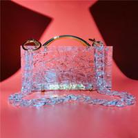Cadeau Bark Motif Sac acrylique Sacs à main Cristal Clear Embrayage acrylique Sacs de godet de designer chaud Sacs de dîner transparents avec chaîne acrylique