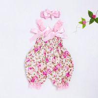 Criança bebê meninos meninas floral romper pudcoco bebê menina bodysuits jumpsuit + headband set outfit bowknot impressão floral terno1
