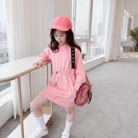 2020 delle ragazze del bambino vestito da autunno inverno infante manica ragazza dei capretti lungo per la neonata cotone di colore rosa vestiti dei vestiti