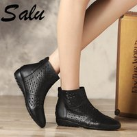 Salu Top Quality Women Basic Boots Side Zipper Summer Low Heels Autumn Winter Ladies Shoes Woman Sexy Round Toe Size 43 44