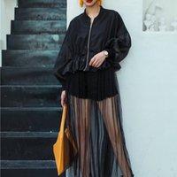LANMREM осень Новый Повседневная мода Темперамент женщин Сыпучие Сплошной цвет сшивание сетки Тонкие пальто TC603 201013
