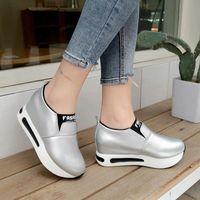 2019 جديد النساء الأحذية المتسكعون زيادة الداخلية الأزياء أحذية رياضية مسطحة منصة الأحذية امرأة الصلبة الانزلاق على السيدات الضحلة # N80s