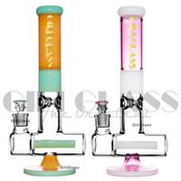 Rosa coloreado de cristal de cristal Bong 15.5 pulgadas Tubo de vidrio de vidrio grueso Tubería de agua en línea PERCOLADER DAB RIG RIG GRIGO BONGS 1100G Tubos de cera grande pesados