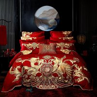 4/6/8pc Luxury Gold Loong Phoenix Embroidery Chinese Wedding Red 100% Cotton Bedding Set Duvet Cover Bed Sheet Linen Pillowcases
