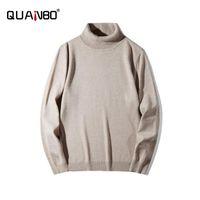 Męskie Swetry Quanbo Mężczyźni Turtleneck Sweter 2021 Przyjazd Jesień Zima Solid Color Luźne Fat Casual Knitting