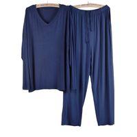 Pantalon de pyjama de Pajamaie Modal à col en V printemps Sumle Set Set Thin Long Manches Accueil Costumes Confort Compensat Casual Sleepwear Taille Plus