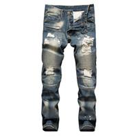 Erkekler Mavi Pileli Patchwork Delik Motosiklet Casual Slim Skinny Sıkıntılı Stretch Denim Pantolon için Biker Ripped Jeans